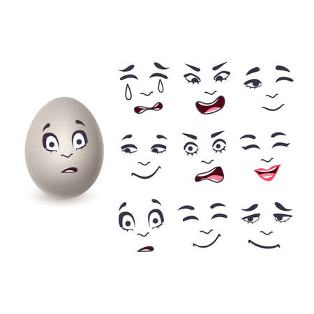 The eggs in a realistic style with different emotions, The image of funny eggs on white background, vector format