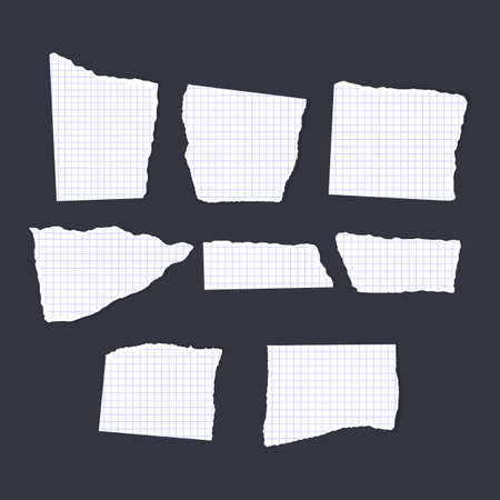 Ripped note of white color, notebook grainy paper strips stuck on grey background Ilustração