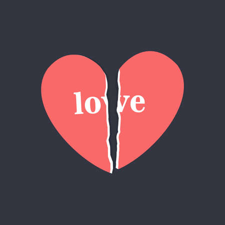 Torn paper heart, a symbol of unhappy love, vector eps 10 format