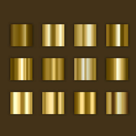 Gold,golden gradient, Set of colors for design,collection of high quality gradients. Metallic texture for shiny background Ilustração