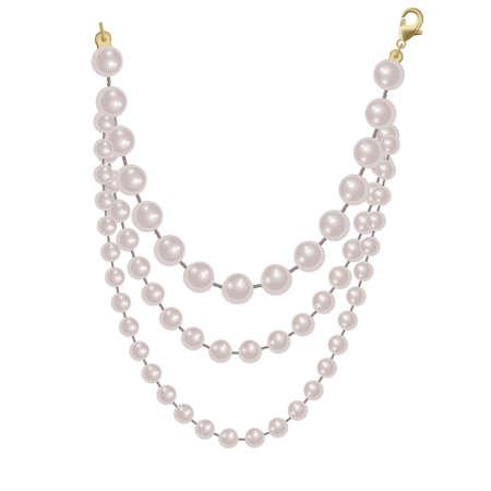 Realistic strands of white pearls, decorative element for holiday cards, wedding invitations, vector illustration Ilustração