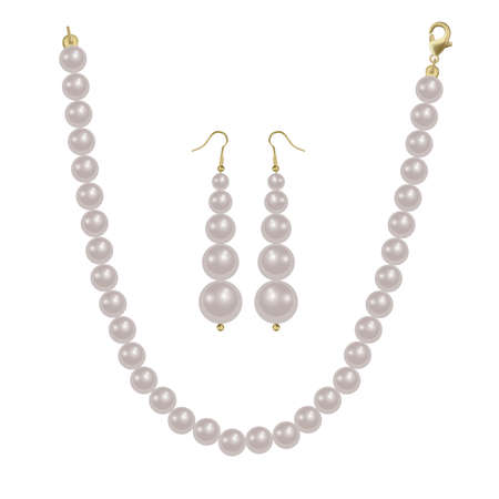 Pearl beads and pearl earrings on a white background, precious jewelry