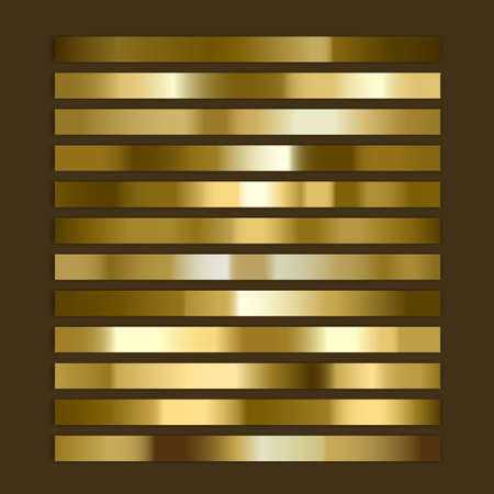 Gold,golden gradient, Set of colors for design,collection of high quality gradients. Metallic texture for shiny background Vector format