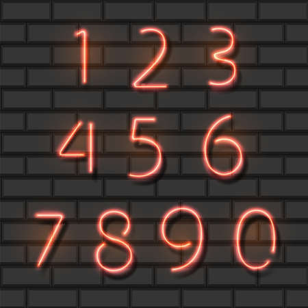 Neon red city font numbers set on a brick background. Vector illustration