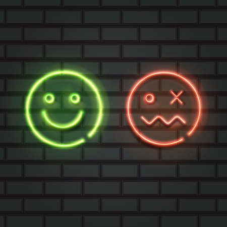 Set of neon smile emoticons isolated on black background. Happy and unhappy smileys, Emoji set. Green and red color. Vector illustration 向量圖像
