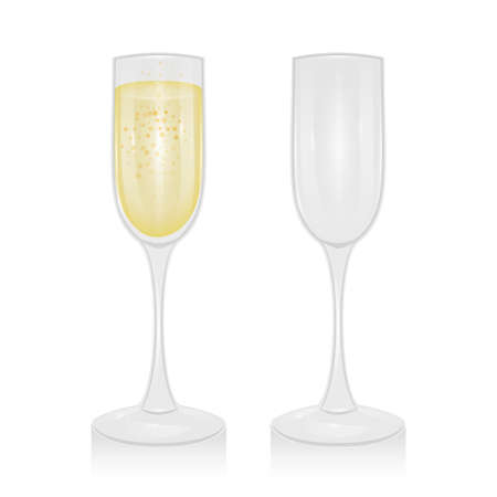 Glass of champagne and empty glass of champagne on a transparent background, vector illustration 向量圖像