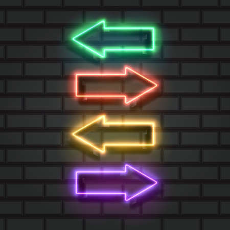 Set of Neon arrows in bright colors on a brick wall. Vector Illustration 向量圖像