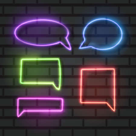 Set of an isolated neon sign of Speech Bubble icon for decoration and covering on the wall background, Vector illustration 向量圖像
