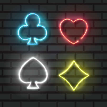 Neon colored symbols deck of cards for playing poker and casino on black background 向量圖像