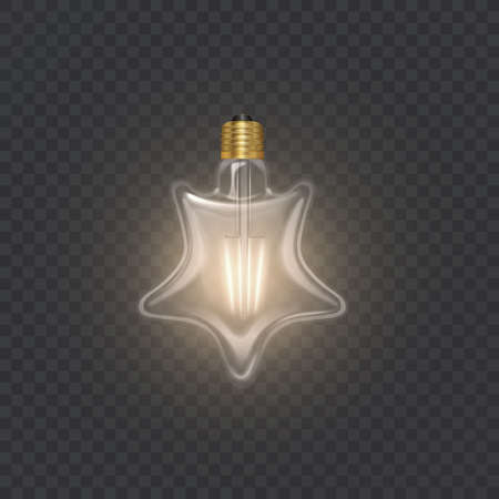 Star-shaped bulb in retro style on the dark substrate, the glowing light bulb in realistic style