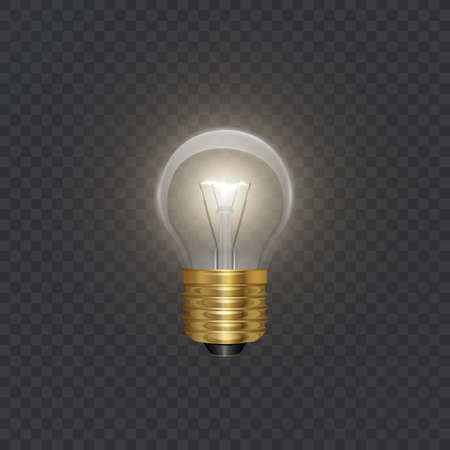 Transparent glowing electric light bulb with a golden base in Realistic style on bark background, Object for presentations, infographics, poster, web design or banner, vector format 向量圖像