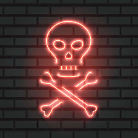 Skull and bones neon sign. Bright skull and crossed bones. Night bright advertisement, illustration in neon style for Halloween and bikers style