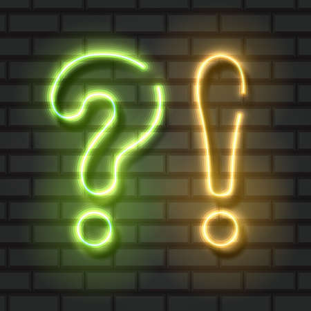 Neon Question and Exclamation Points, Green and orange Lights 向量圖像