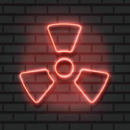 Glowing neon Radioactive icon isolated on brick wall background. Radioactive toxic symbol. Radiation Hazard sign.
