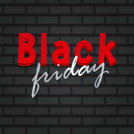 Black Friday sale banner. Card with background with deep black color brick. Template for greeting cards, email and newsletter design, marketing material, vector illustration