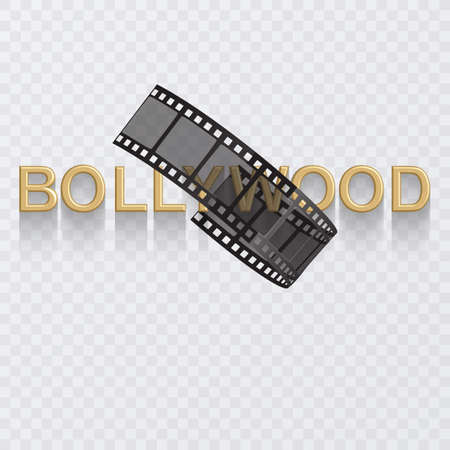 Cinema poster design template. 3d golden text of Bollywood decorated with filmstrip on white background 向量圖像