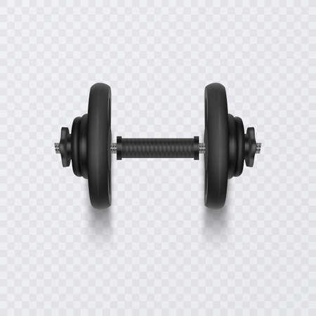 Black dumbbell for training, Realistic Detailed Close Up View Isolated on White Background. Sport Element of Fitness Dumbbell 向量圖像