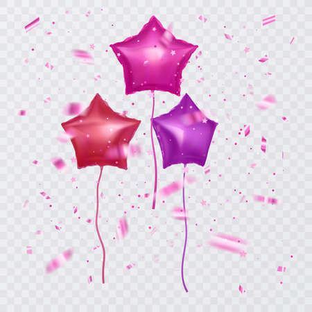 Set of pink balloons with shape of stars and confetti, party background, concept design for Celebration 向量圖像
