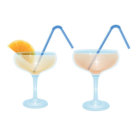 The tropical cocktail with the salt shaker on white background, cocktail glass
