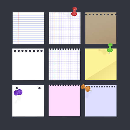 Set of Paper for Notes. Collection of Square sheets of reminder Paper
