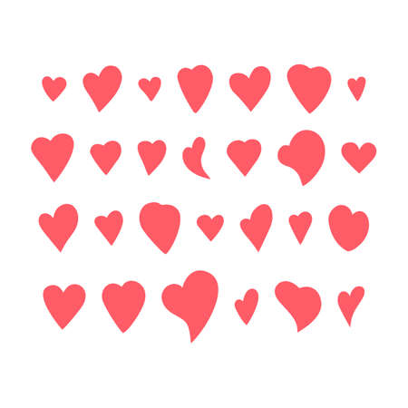 Red Heart Shapes on White Background. Love symbols. Flat Heart Silhouettes Vector. icons. Design Elements Set 向量圖像