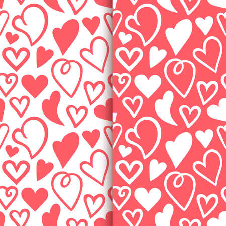 Repeated outlines of hearts drawn by hand. Romantic seamless pattern Set. Endless cute print. Girly illustration 向量圖像