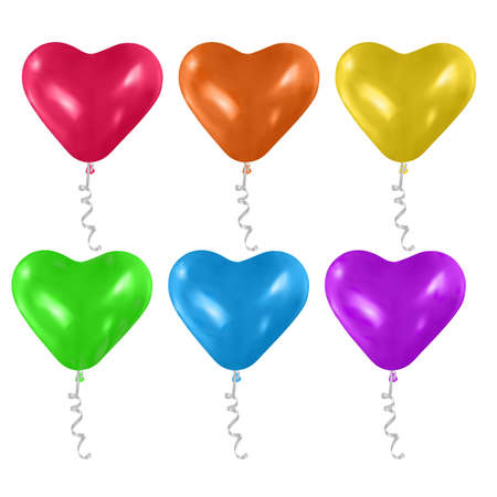 Vector heart shaped balloons set isolated on white background. bright colorful balloons on white background. Festive decoration element for Valentine's Day or Wedding