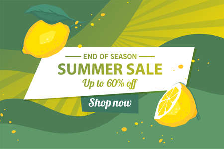 Summer sale banner template, Summer sale bright background for your advertisement, Vector illustration