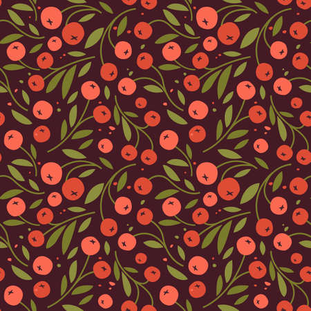 Seamless pattern of flowers and berries, endless pattern with red berries 向量圖像