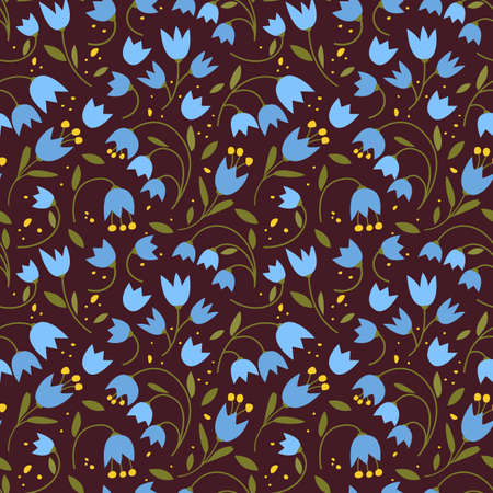 Cute seamless pattern with colorful small flowers. Small flowers on Dark background, Vector illustrations 向量圖像
