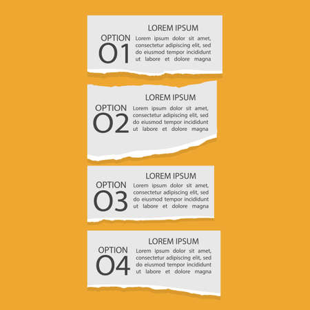 Set of four infographics of torn paper with numbers and text, banner on orange background