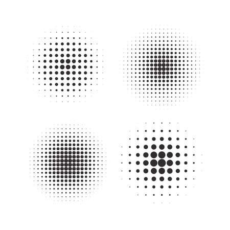 Halftone circles, halftone dot pattern texture set on white background