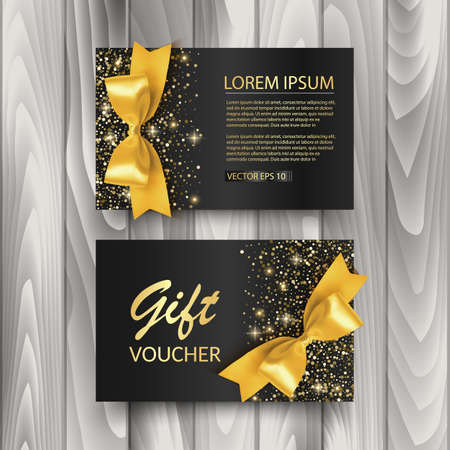 Set of Gift Voucher Card Template, Advertising or Sale. template with glitter texture and realistic bow illustration, vector