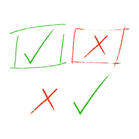 Check marks, Check and cross highlight sign, checklist marking   reject and accept mark Green tick and red cross