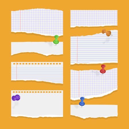 Set of torn ripped paper sheets of white color, notebook paper on orange background. Vector illustration