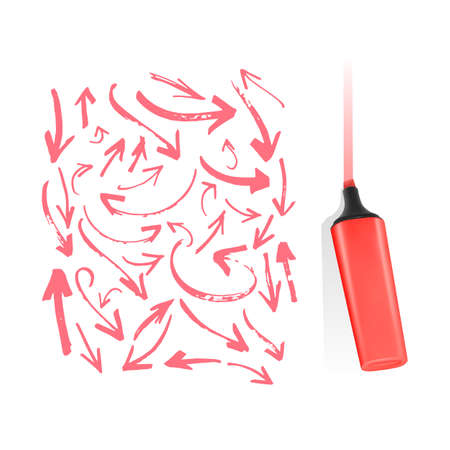Set of marker arrows of different shapes and directions on white background
