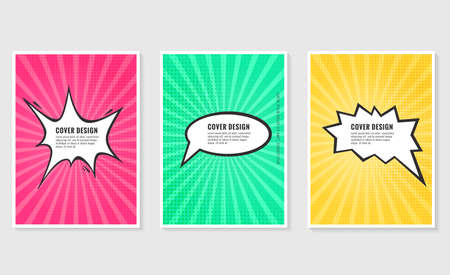Pow, colorful speech bubble and explosions in pop art style. Elements of design comic books.Vector illustration