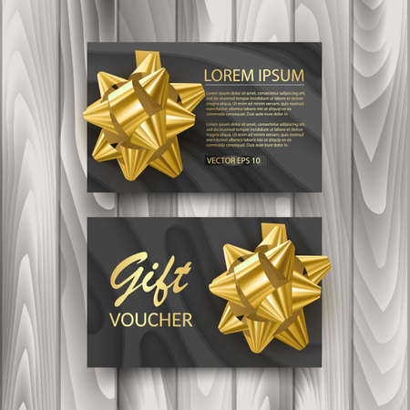 Set of Gift Voucher Card Template, Advertising or Sale. template with glitter texture and realistic bow illustration