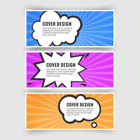 Set of banners in the style of pop art or comics, card collection, Vector illustration 向量圖像