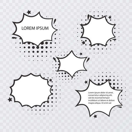 Retro empty comic bubbles and elements set with black halftone shadows on transparent background. Vintage design or pop art style, Vector format