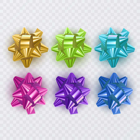 Set of gift ribbons with colorful Bow. Gift Elements For Card Design. Holiday Background. Vector Illustration