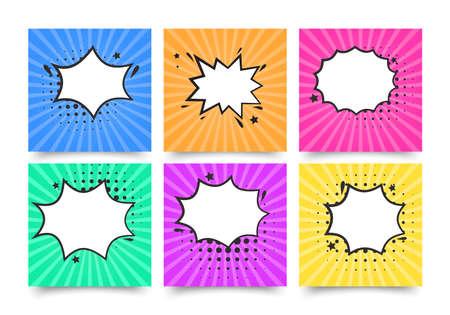 Retro comic empty speech bubbles set on colorful background, vintage design, pop art style