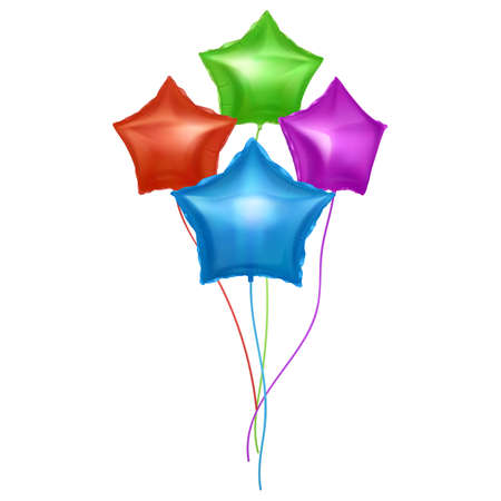 Vector balloons set with shape of stars. Bright colorful balloons on white background. Festive decoration element for Valentine's Day or Wedding