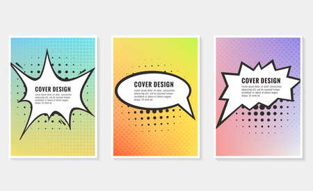 Pow, colorful speech bubble and explosions in pop art style. Elements of design comic books