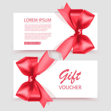 Voucher template with red bow, ribbons. Design usable for gift coupon, voucher, invitation, certificate, etc. Vector illustration 向量圖像