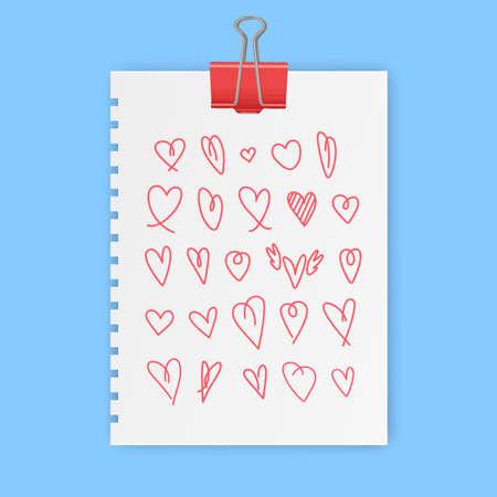 hand drawn heart sign vector, love symbols set illustration, doodle love icon set in vector format