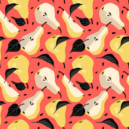 Seamless pattern with yellow pear. Fruit background. Vector print for fabric and wallpaper 向量圖像