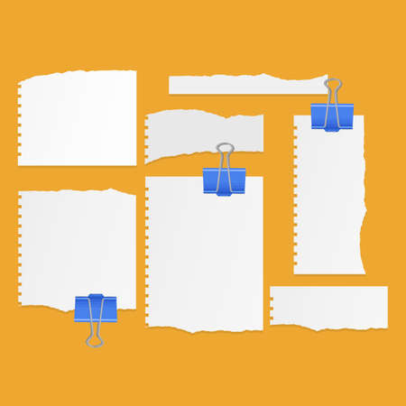 Set of torn ripped paper sheets of white color, notebook paper on orange background