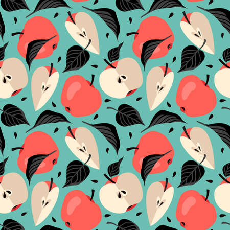 Seamless repeating pattern with apples in black and red on green background. Modern style background, poster, textile, greeting card design