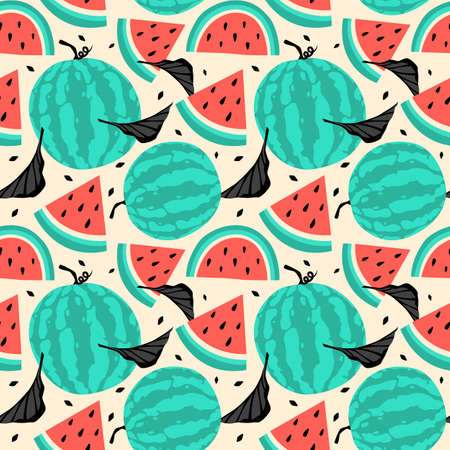 Fruity seamless pattern textured watermelon pieces with yellow background
